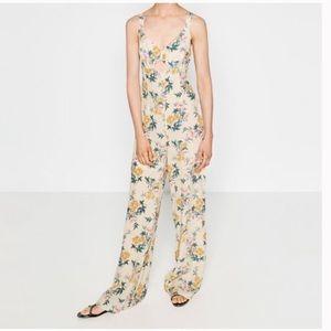 Zara floral wide leg cutout front jumpsuit